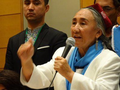 団体の代表には、アメリカ亡命中でウイグル人組織「世界ウイグル会議」の代表を務めたラビア・カーディル氏が就任した。